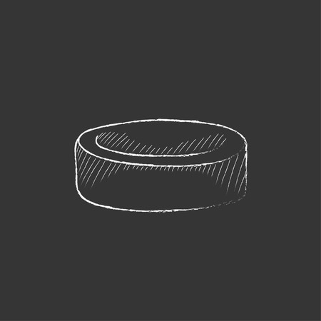 Hockey puck. Hand drawn in chalk vector isolated icon for web, mobile and infographics.
