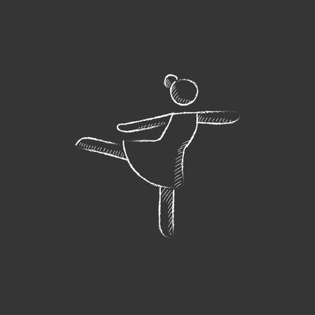 Female figure skater. Hand drawn in chalk vector isolated icon for web, mobile and infographics. 向量圖像