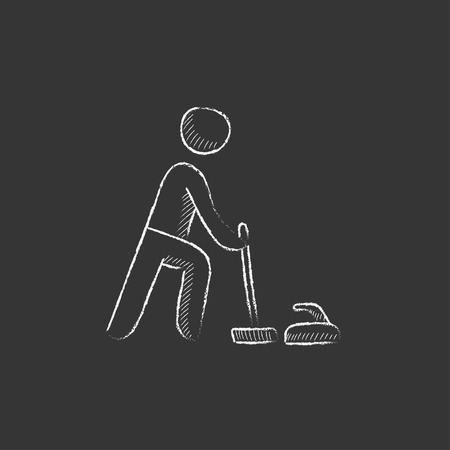 ice slide: Curling. Hand drawn in chalk vector isolated icon for web, mobile and infographics.