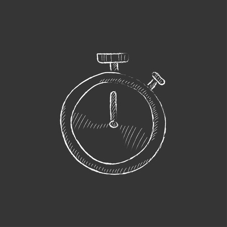 Stopwatch. Hand drawn in chalk vector isolated icon for web, mobile and infographics.