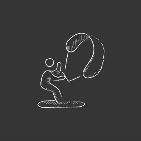 icono deportes: Surf de vela. Dibujado a mano en el icono de tiza vector aislado para web, móvil y la infografía.