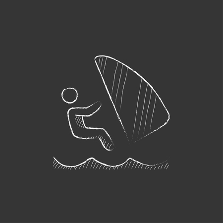 wind surfing: Wind surfing. Hand drawn in chalk vector isolated icon for web, mobile and infographics. Illustration