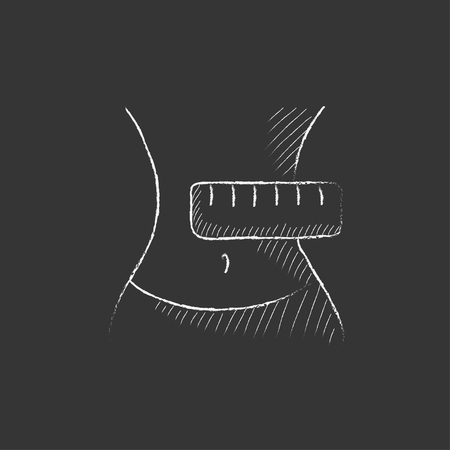 Waist with measuring tape. Hand drawn in chalk vector isolated icon for web, mobile and infographics.
