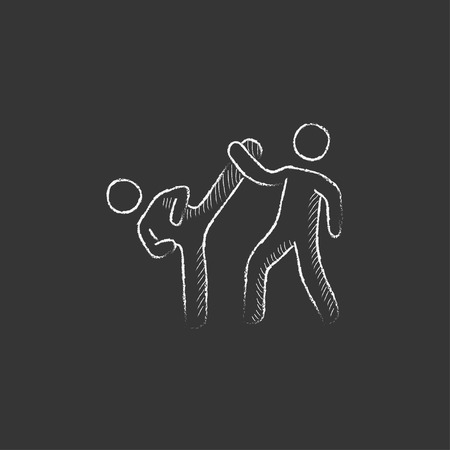 minimal: Karate fighters. Hand drawn in chalk vector isolated icon for web, mobile and infographics. Illustration