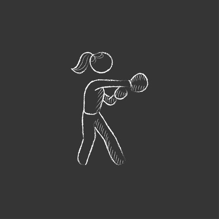 Female boxer. Hand drawn in chalk vector isolated icon for web, mobile and infographics.