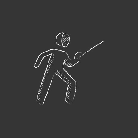 sward: Fencing. Hand drawn in chalk vector isolated icon for web, mobile and infographics.