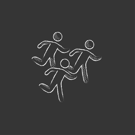 Running men. Hand drawn in chalk vector isolated icon for web, mobile and infographics.