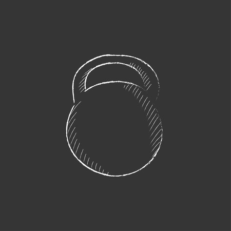Kettlebell. Hand drawn in chalk vector isolated icon for web, mobile and infographics. Illustration