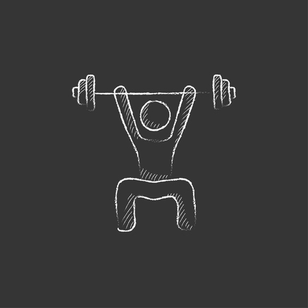 squat: Man exercising with barbell. Hand drawn in chalk vector isolated icon for web, mobile and infographics.