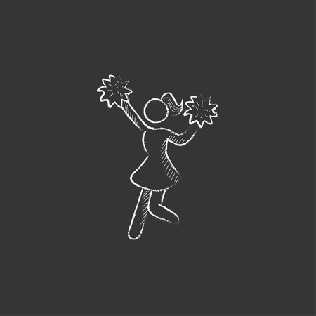 Cheerleader. Hand drawn in chalk vector isolated icon for web, mobile and infographics.
