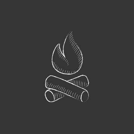 Campfire. Hand drawn in chalk vector isolated icon for web, mobile and infographics.