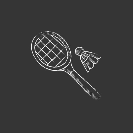 Shuttlecock and badminton racket. Hand drawn in chalk vector isolated icon for web, mobile and infographics.