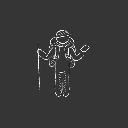 Tourist backpacker with phone. Hand drawn in chalk vector isolated icon for web, mobile and infographics. Çizim