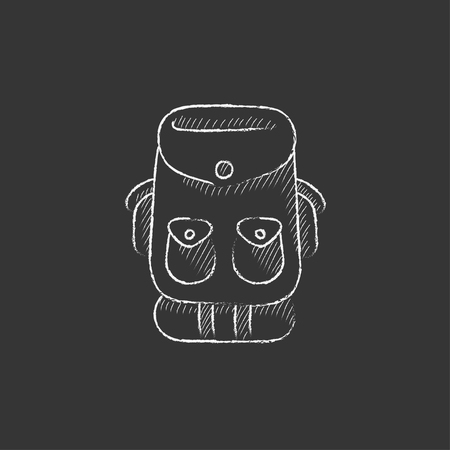 Backpack. Hand drawn in chalk vector isolated icon for web, mobile and infographics. Ilustração