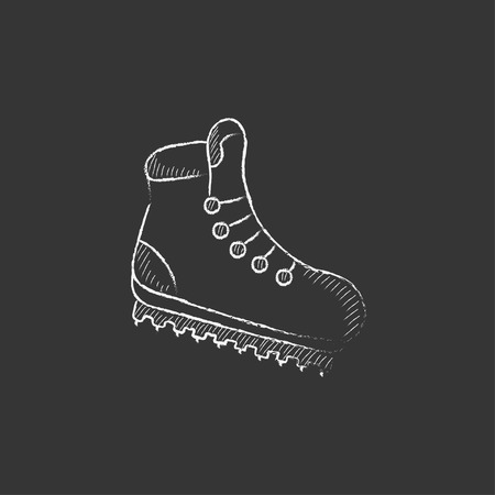 crampons: Hiking boot with crampons. Hand drawn in chalk vector isolated icon for web, mobile and infographics. Illustration