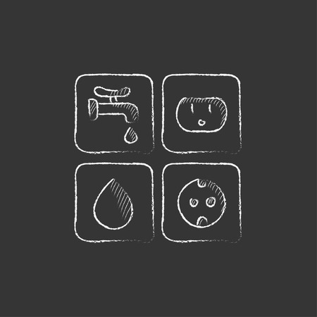 utilities: Utilities signs electricity and water. Hand drawn in chalk vector isolated icon for web, mobile and infographics. Illustration