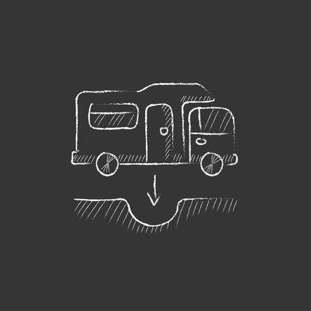 canalization: Motorhome and sump. Hand drawn in chalk vector isolated icon for web, mobile and infographics. Illustration