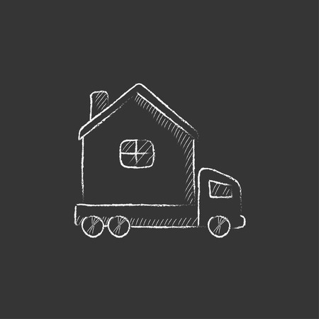 motorhome: Motorhome. Hand drawn in chalk vector isolated icon for web, mobile and infographics.