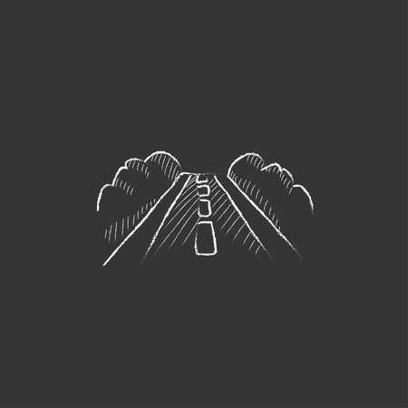 Road. Hand drawn in chalk vector isolated icon for web, mobile and infographics.