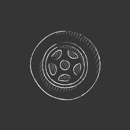 Car wheel. Hand drawn in chalk vector isolated icon for web, mobile and infographics.