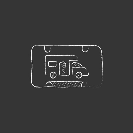 rv: RV camping sign. Hand drawn in chalk vector isolated icon for web, mobile and infographics.