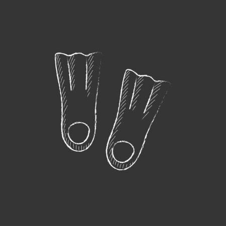 flippers: Flippers. Hand drawn in chalk vector isolated icon for web, mobile and infographics.