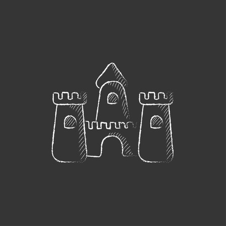 sandcastle: Sandcastle. Hand drawn in chalk vector isolated icon for web, mobile and infographics.