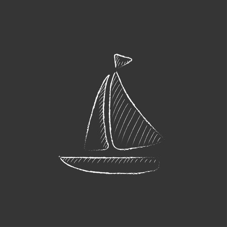 Sailboat. Hand drawn in chalk vector isolated icon for web, mobile and infographics. Ilustracja