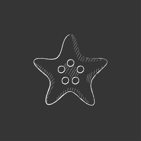 finger fish: Starfish. Hand drawn in chalk vector isolated icon for web, mobile and infographics.