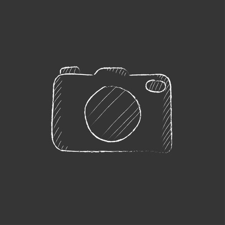 Camera. Hand drawn in chalk vector isolated icon for web, mobile and infographics.
