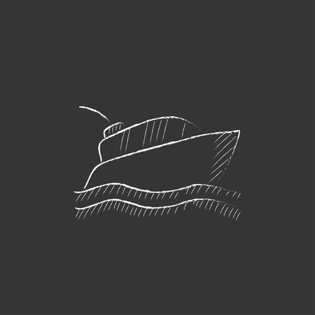 Yacht. Hand drawn in chalk vector isolated icon for web, mobile and infographics.