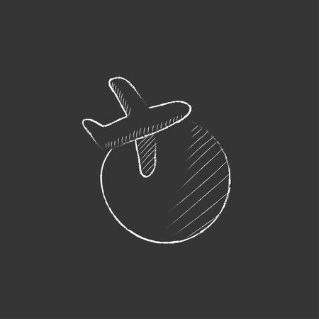 avia: Travel by plane. Hand drawn in chalk vector isolated icon for web, mobile and infographics.