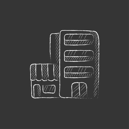 multi storey: Hotel building. Hand drawn in chalk vector isolated icon for web, mobile and infographics. Illustration