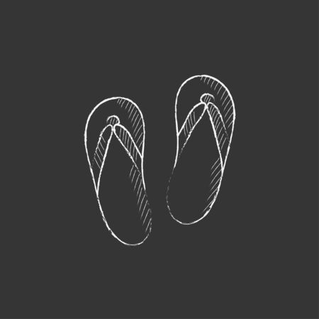 slipper: Beach slipper. Hand drawn in chalk vector isolated icon for web, mobile and infographics.