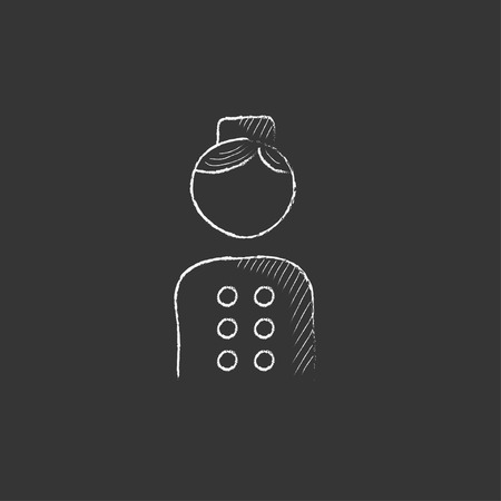bellboy: Bellboy. Hand drawn in chalk vector isolated icon for web, mobile and infographics.