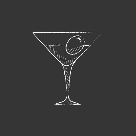 tonic: Cocktail glass. Hand drawn in chalk vector isolated icon for web, mobile and infographics.