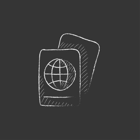 Map. Hand drawn in chalk vector isolated icon for web, mobile and infographics. Çizim