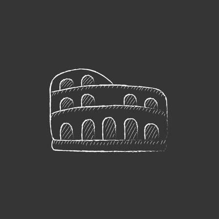 Coliseum. Hand drawn in chalk vector isolated icon for web, mobile and infographics.