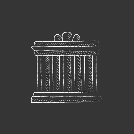 the acropolis: Acropolis of Athens. Hand drawn in chalk vector isolated icon for web, mobile and infographics. Illustration