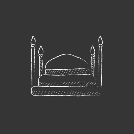 taj: Taj Mahal. Hand drawn in chalk vector isolated icon for web, mobile and infographics.
