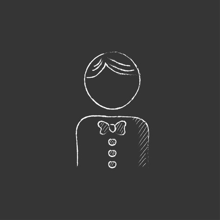 Waiter. Hand drawn in chalk vector isolated icon for web, mobile and infographics.