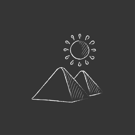 egyptian pyramids: Egyptian pyramids. Hand drawn in chalk vector isolated icon for web, mobile and infographics. Illustration