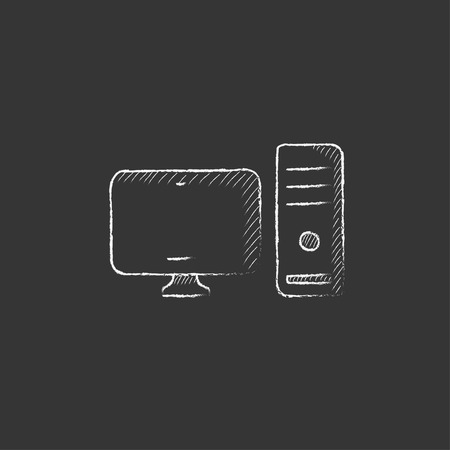 CPU and monitor. Hand drawn in chalk vector isolated icon for web, mobile and infographics.