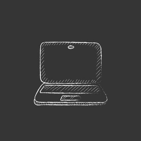 Laptop. Hand drawn in chalk vector isolated icon for web, mobile and infographics.