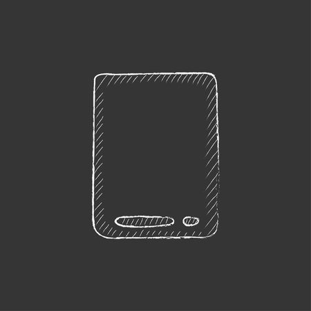 touch screen hand: Touch screen tablet. Hand drawn in chalk vector isolated icon for web, mobile and infographics. Illustration