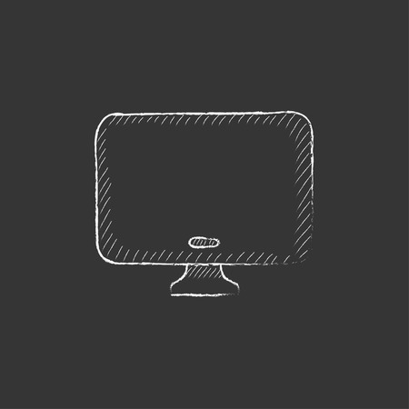 lcd display: Monitor. Hand drawn in chalk vector isolated icon for web, mobile and infographics. Illustration