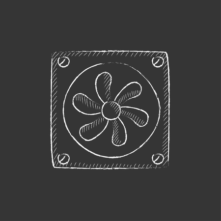 Computer cooler. Hand drawn in chalk vector isolated icon for web, mobile and infographics.