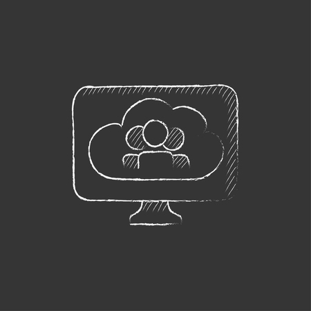 device: Cloud with people on computer monitor. Hand drawn in chalk vector isolated icon for web, mobile and infographics.