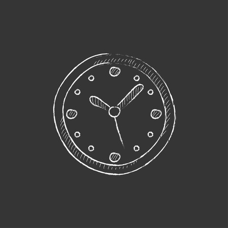 Wall clock. Hand drawn in chalk vector isolated icon for web, mobile and infographics.