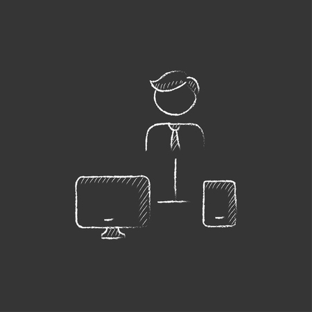 device: Man linked with computer and phone. Hand drawn in chalk vector isolated icon for web, mobile and infographics.